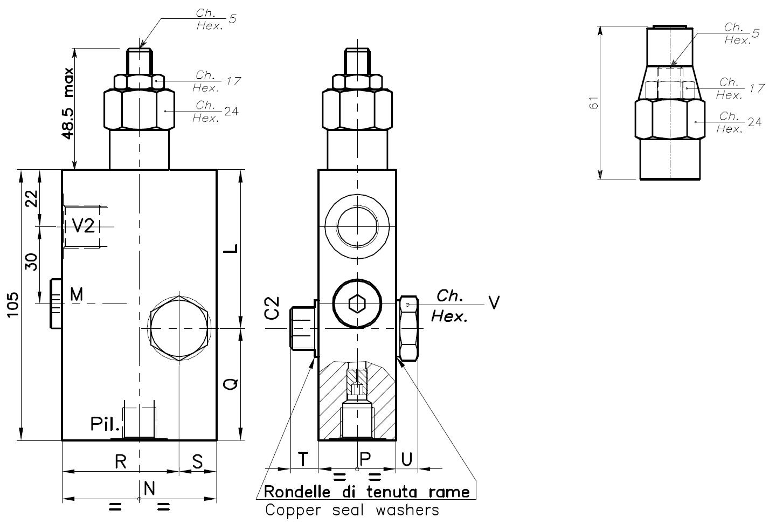 Размеры гидроклапана 001.024.0H0