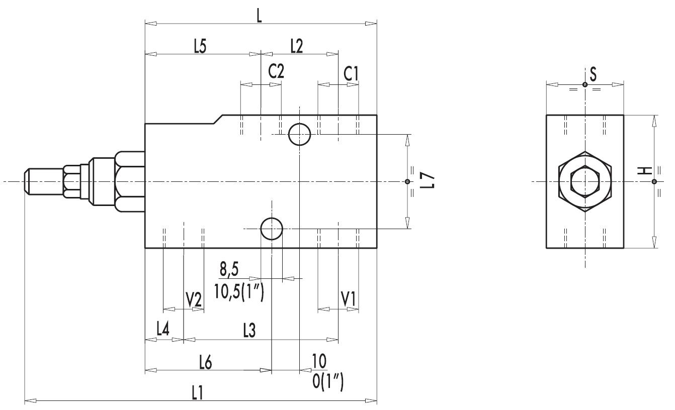 Размеры тормозных клапанов VBCD SE/A